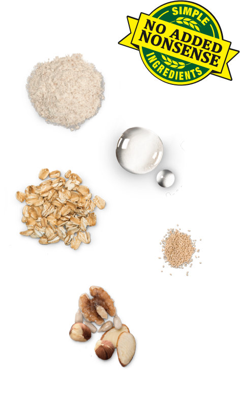 Simple No Added Nonsense Ingredients: Flour, Water, Oats, Yeast, Nuts and Seeds
