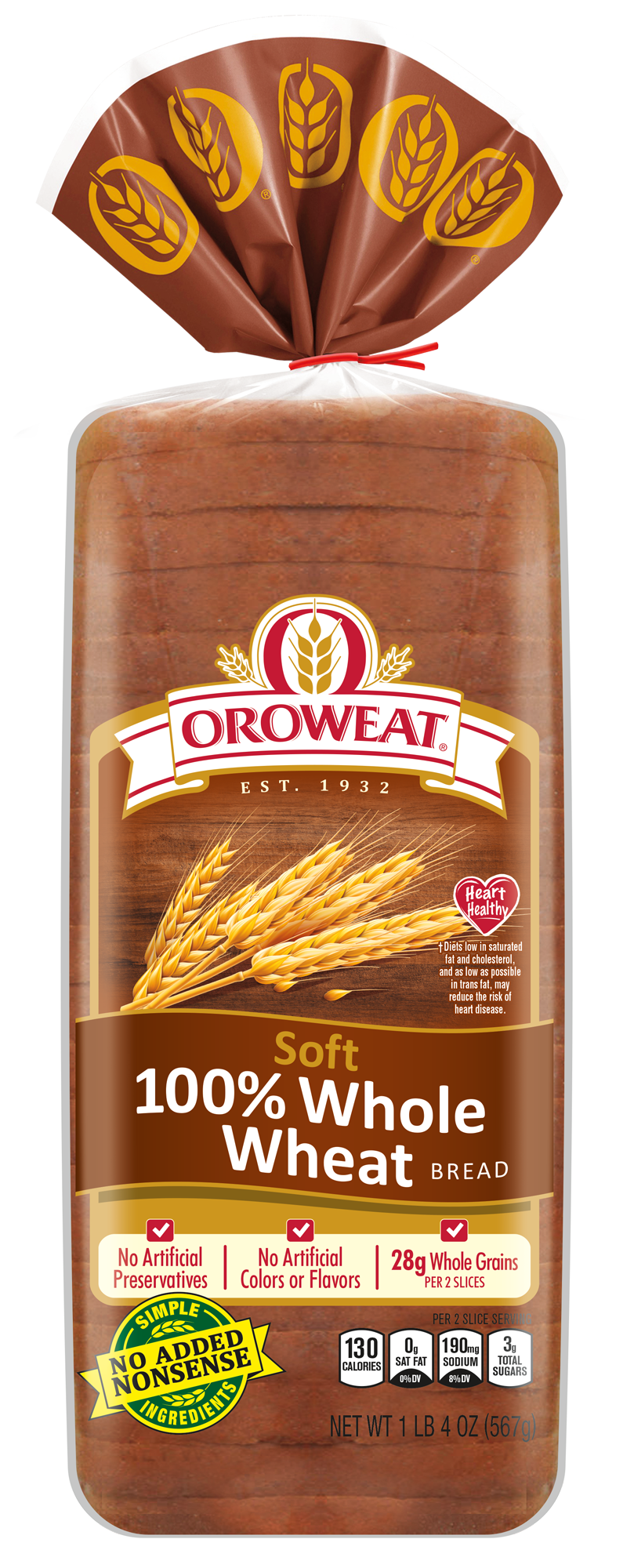 Oroweat Classic Soft 100% Whole Wheat Bread Package