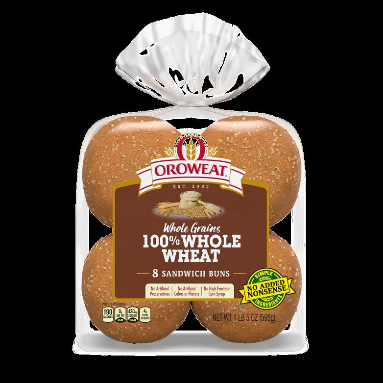 Oroweat Sandwich Buns 100% Whole Wheat Package