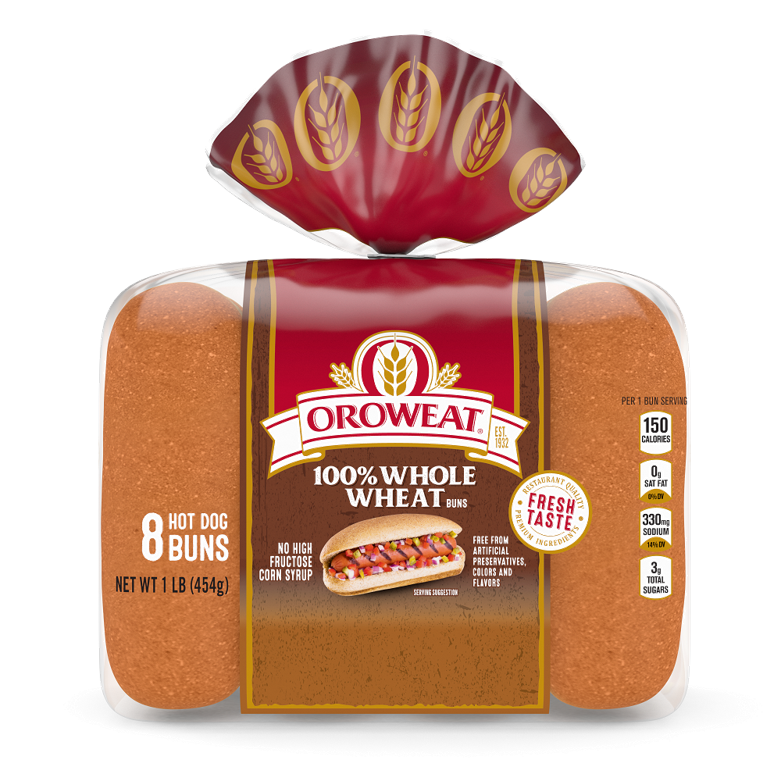 Oroweat 100% Whole Wheat Hot Dog Buns Package