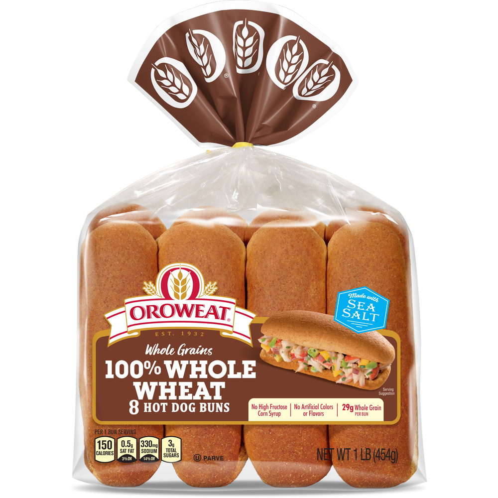 Oroweat 100% Whole Wheat Hot Dog Buns Package Image