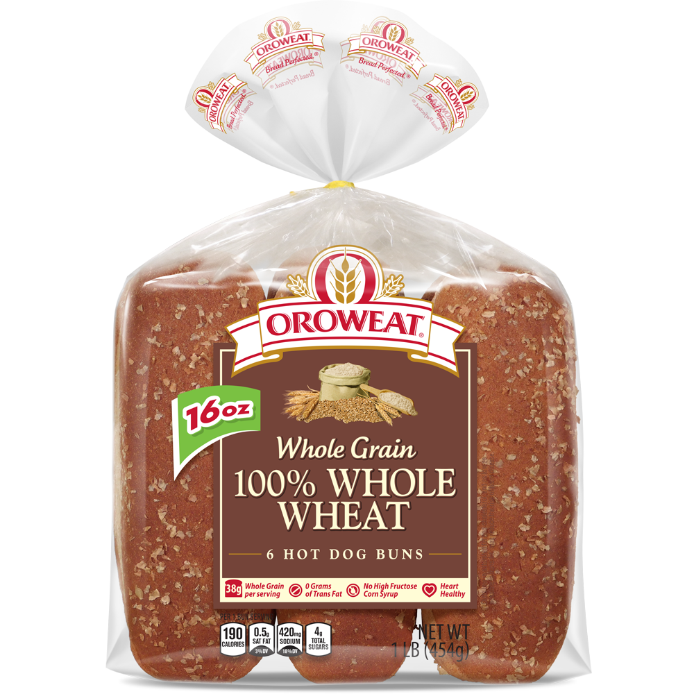 Oroweat 100% Whole Wheat Large Hot Dog Rolls Package