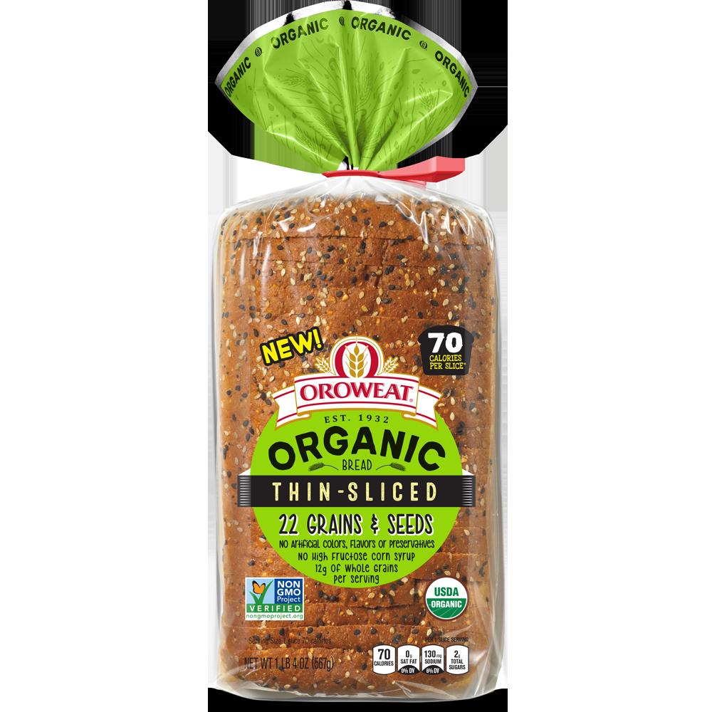 Oroweat Organic Thin Sliced 22 Grains & Seeds Bread Package Image