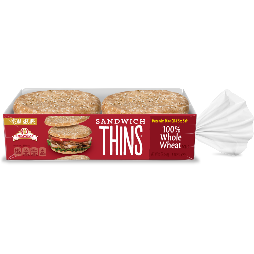 Oroweat Sandwich Thins 100% Whole Wheat Package