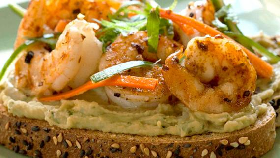 Confetti Shrimp Toast With Bean Basil Pâté Recipe Image