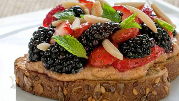 Spicy Lemon-Honey Berries On Creamy Almond Butter Toast Recipe Image